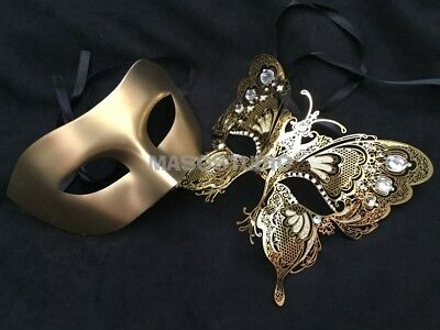Filigree Gold Couple Masquerade Ball Mask Pair Swan Vampire Costume Prom - Mask Ball Masks