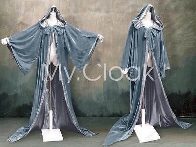 Halloween Gray Silver Velvet Robe Wizard Hood Cloak Wicca Pagan LARP LOTR S-6X - Wizard Robe
