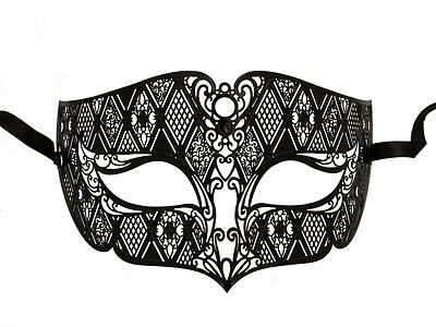 Mask Venetian Wolf IN Lace Metal Black Evening Carnival from Venice 1265