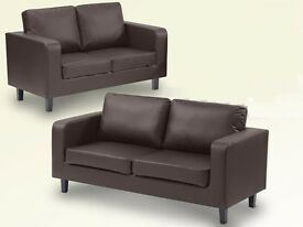 GERMAN QULAITY 3 AND 2 SEATER FAUX LEATHER SOFA IN BLACK AND BROWN COLOUR