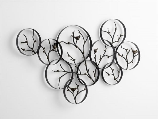 Birds On A Branch Wall Art Decor Metal Bird Wall Sculpture Bronze Finish  44 Part 74