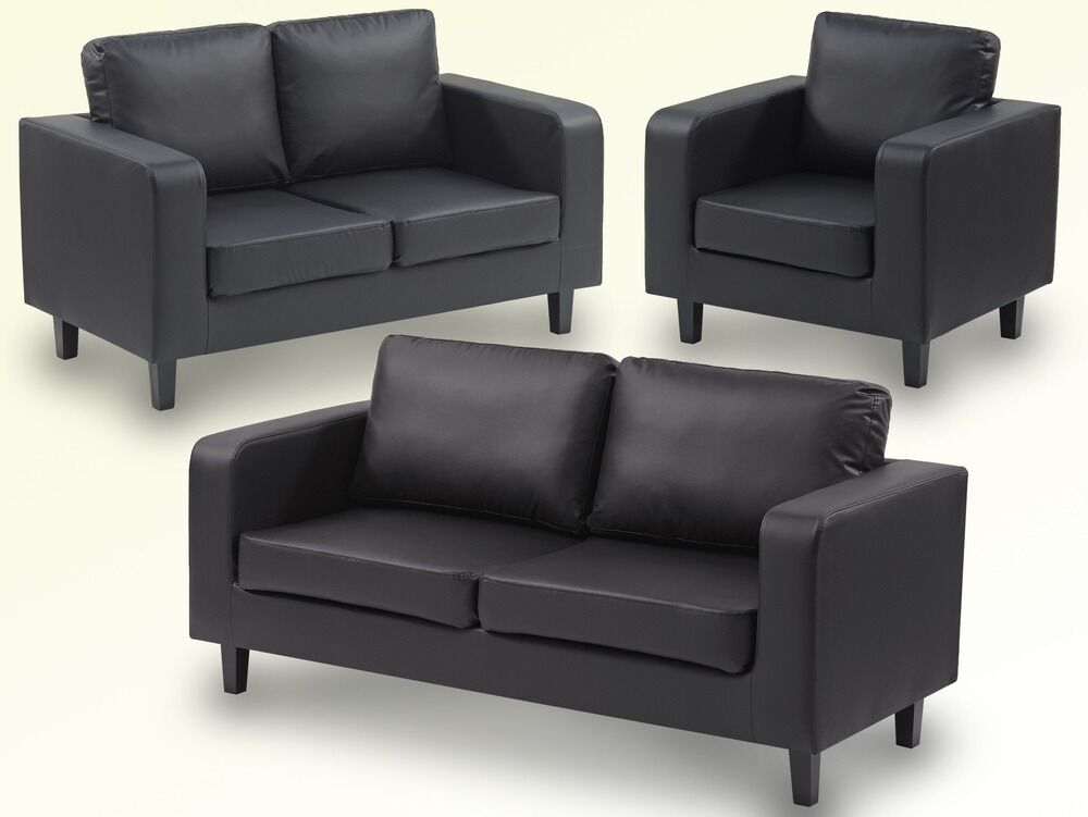 Great Value Leather Box Sofa Set 3 2 U0026 1 Only For £275 Black