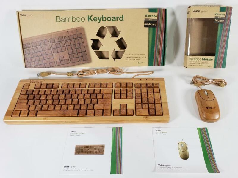 Vivitar Green Eco Friendly Bamboo Wood Wired Keyboard and Mouse Open Box