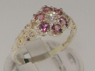 - 10ct White Gold Natural Diamond & Pink Tourmaline Ladies Vintage Daisy Ring