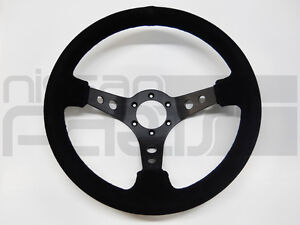 NRG 350mm SPORT STEERING WHEEL  BLACK SUEDE BLACK STITCHING BLACK SPOKE 3