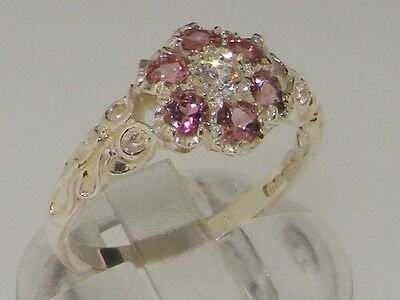 Pink Tourmaline Daisy - 10k White Gold Natural Diamond & Pink Tourmaline Womens Vintage Daisy Ring