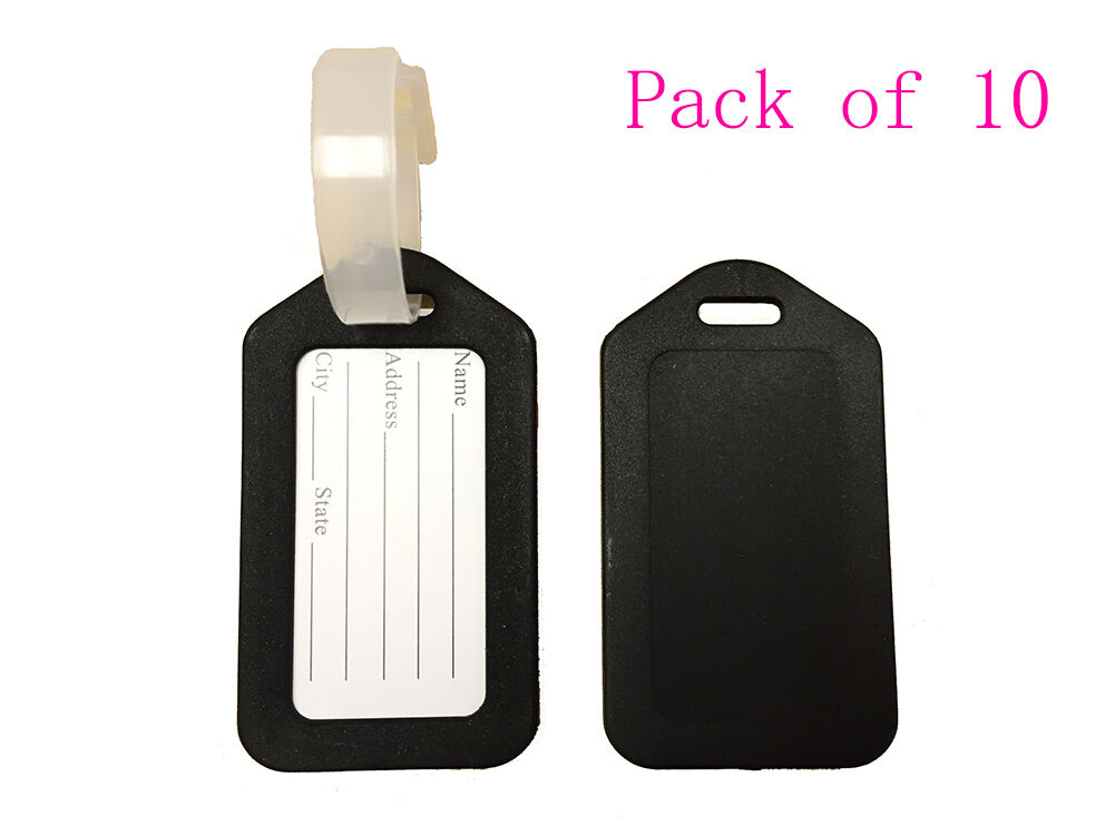 Pack of 10 Travel Luggage Bag Tag Plastic Suitcase Baggage O