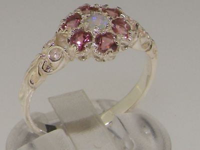 - 10ct White Gold Natural Opal & Pink Tourmaline Ladies Vintage Daisy Ring