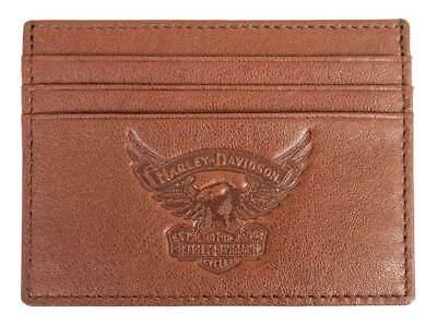 Harley-Davidson Mens #1 Burnished Garage Slimfold Leather Wallet BG1165L-TANBLK