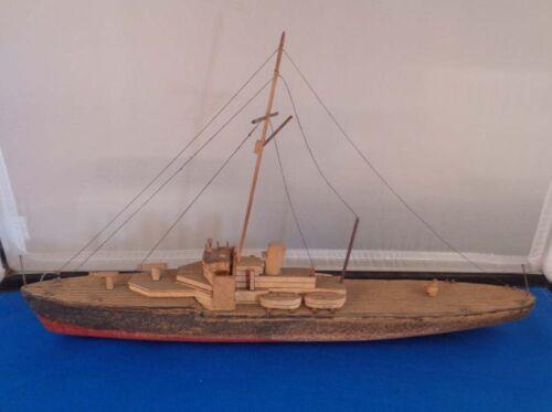 "Vintage Folk Art Hand Made Ocean Cargo Ship 12"""