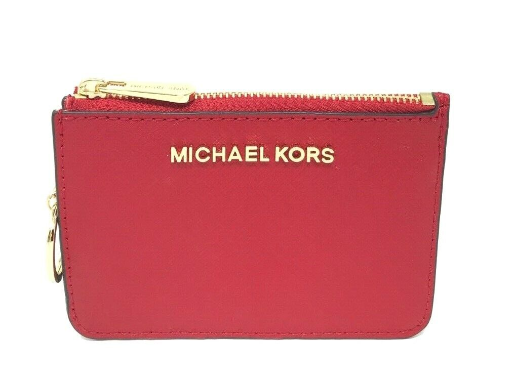 Michael Kors Jet Set Travel Small Leather Top Zip Coin Pouch With ID Chili