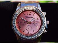 NEW Women's luxury rose gold cubic zirconia watch