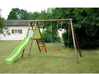 Kids wooden slide and swing set