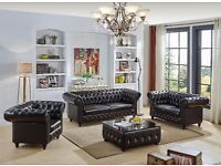 Brand New Real Leather Chesterfield Sofa Set, 3+2+1+coffee table, Dark Brown