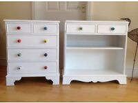 Furniture set slim-line drawers and shelves storage white polka dot knobs