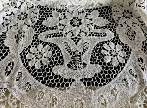 Vintage Antique White Needle Lace Banquet Tablecloth with Flowers  WW114