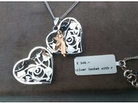 Clogau heart pendant on 18 chain,silver with roese gold fairy.
