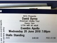 DAVID BYRNE (1 ticket) LIVE @ Eventim Apollo London - WED 20.06.18