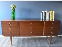 Stylish vintage Danish style walnut sideboard / dresser. Delivery. Modern / Midcentury.