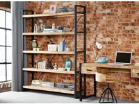 FOR SALE - Reclaimed wood and metal bookcase and tall chest of drawers for office or home