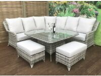 Homeflair Rattan Garden Furniture Sarah Grey weave corner sofa + Dining table + 2 stools set £1399