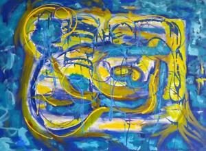 "LIFE IS BEAUTIFUL 47x35"" Koudelka Oakville Blue Green Purple Yellow Large Painting Landscape Abstract Nature & Man"