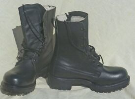 Army style fashionable brand new pair of black leather biking boots ~ size 5