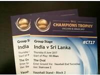 2 x Bronze Tickets for India v Sri Lanka at Oval, London