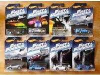 Hot wheels set of 8 fast and furious carded cars new