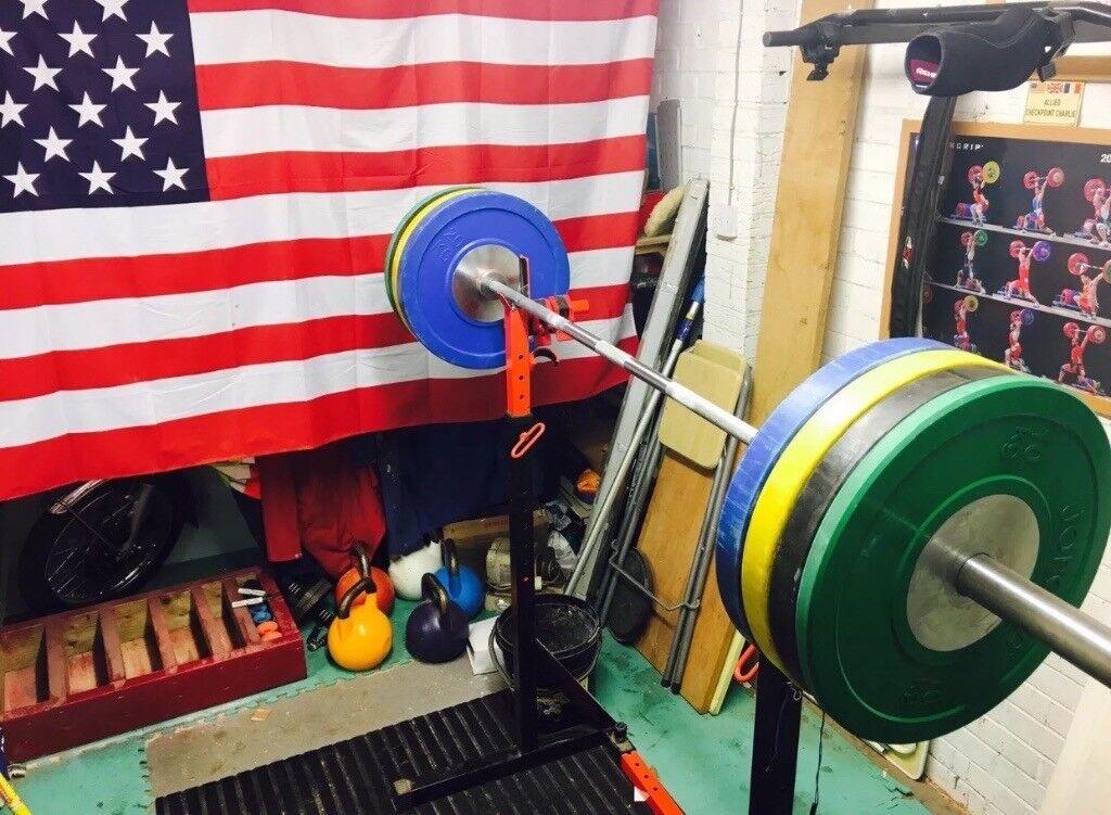 Complete Crossfit home garage gym barbells bumper plates squat stands