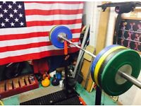Complete Crossfit home garage gym barbells bumper plates squat stands