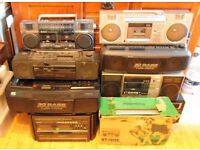 COLLECTION of Ghetto blasters and boom box tape recorders, record player, radio 1970s -80s.