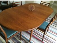 Vintage G Plan extending teak table and 4 chairs, vgc