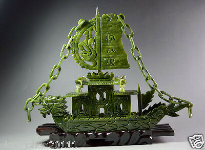 Exquisite Chinese 100%Natural Jade Hand Carved Dragon Incense statue Dragon Ship for sale  Shipping to Canada