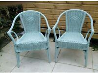 "Pair of shabby chic Lloyd Loom ""inspired"" or "" style"" wicker, rattan chairs."