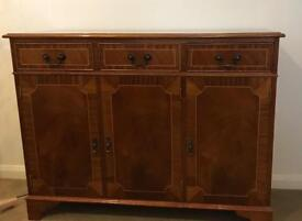 Polished finish 3 drawer and 3 cupboard side board