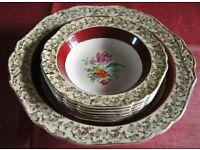 H & K Tunstall Vintage MIDAS Design 7 piece Fine China Dessert Set: Serving Bowl & 6 Dessert Bowls