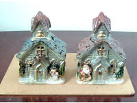 Authentic Bavarian (German) Church Candle Holder Porcelain Christmas Decorations