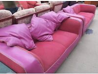Very Comfy Pair Of Pink 2 Seater Sofa+puff (Local delivery available £5-£10)