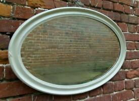 French Grey painted antique oval mirror