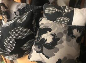"4 x Black and White Cushions 19x19"""