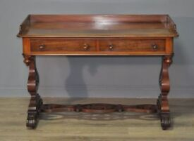 Attractive Large Antique Victorian Mahogany Washstand Side Table, Gallery Back