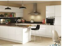 7 Piece Kitchen Units - White Gloss Handle-less - BRAND NEW
