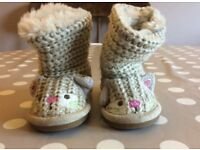 Girls Size 3 Next slipper boots wool & suede outside, faux fur lining Light brown (BRAND NEW) (FFSP)