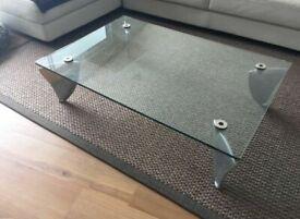 COST £1600. NEW, ORIGINAL, Matthew Hilton Flipper Fin Toughened Glass Coffee Table. Rare Iconic