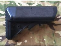 POLYMER AIRSOFT CRANE STOCK BUTT M4/15/16 BLACK RUBBERISED EXTENDABLE ADJUSTABLE ARMY CADET MTP VGC