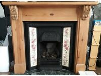Cast iron gas fire and surround
