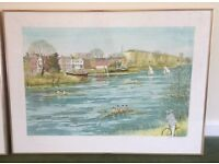 Limited edition framed print by Jeremy King , `Boating at Chiswick`