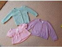 3 pastel coloured baby cardigans (Next and M&S) 6-9 months