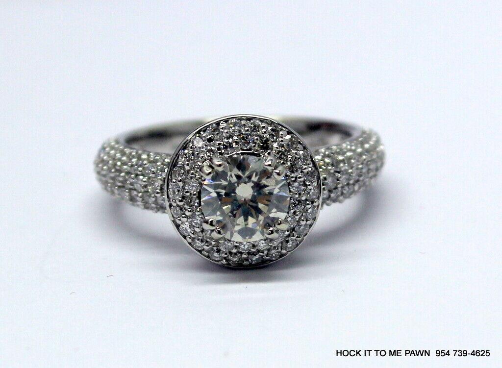 Duet Halo Diamond Engagement Ring in 14k White Gold (1.75 ct. tw.) GIA 8